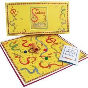 Retro snakes and ladders by house of marbles