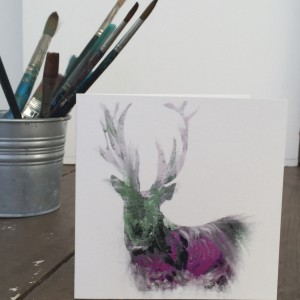 The Steel Rooms Colour Stag Card by Julie Steel